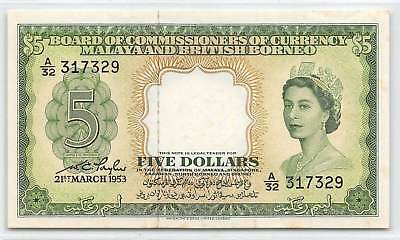 Malaya & British Borneo  $5  21.3.1953  P 2a Series A/32 Circulated Banknote E1W