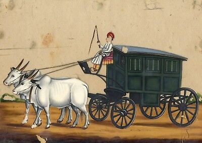 Company School 19th-century Indian Mica Painting in Gouache, Carriage & Bullocks