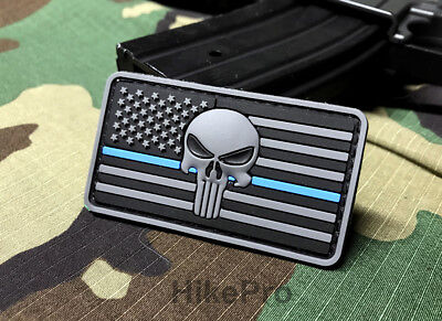 d0e0967d164b3 Premium PVC Police Thin Blue Line Morale Patch punisher SKULL American Flag  USA