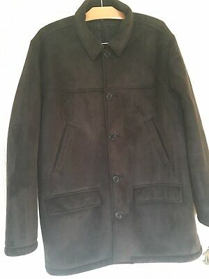 954db22af28 Lands  End Mens Black Faux Suede Shearling Sherpa Barn Coat Jacket Large  42-44