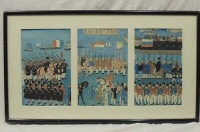 Antique Asian Watercolor Triptych Scene Military Japanese Soldiers