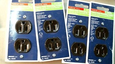 Leviton 09874 Brown Heavy-Duty Grounding Outlets LOT of 4 #R320, 15A-125V  FS