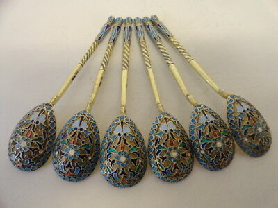 Set of 6 antique Russian silver 84 cloisonne enamel spoons. Length - 4.1 inches