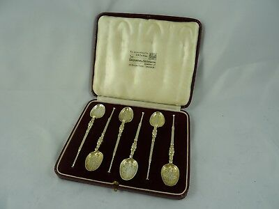 BOXED set x 6 silver gilt TEA SPOONS, 1936, 66gm