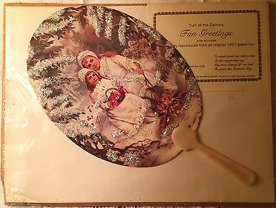 Turn Of The Century Reproduction 1901 Paper Fan Greeting Card Christmas