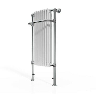 Victorian Traditional Heated Radiator Towel Rail - 1130mm x 553mm - Chrome/White