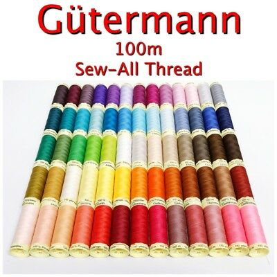 Gütermann 100m Reel Sew-All 100% Polyester Sewing Thread/ Cotton Machine + Hand