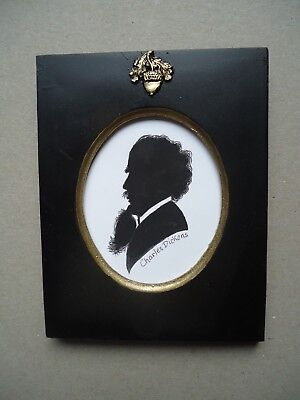 Painted  Silhouette  Of  Charles  Dickens