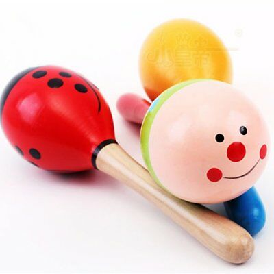 Colorful Small Maracas Wooden Hammer Cartoon Sand Ball Knock Wooden Bell Baby Educational Toys Home
