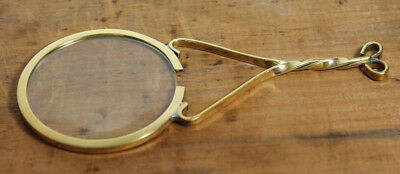 Vintage Antique Style Brass Magnifying glass Hand Lens Colonial Magnifier