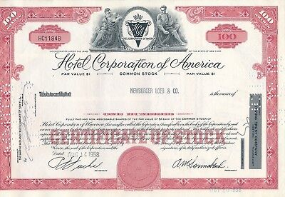 Hotel Corporation of America, HC11848, 14.08.1958, 100 Shares, HOTELS