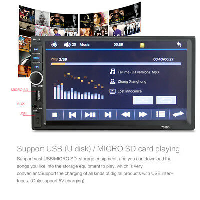 7 Inch 1080P DOUBLE 2DIN Car MP5 Player Bluetooth Touch  HD Screen Stereo Radio