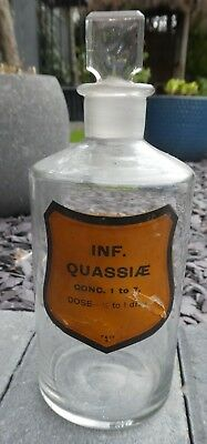 Antique Chemist Apothecary Pharmacy Glass Poison Bottle Inf Quassiae