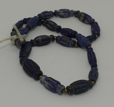 Lovely Ancient Carved Lapis Bead Necklace - No Reserve 0326