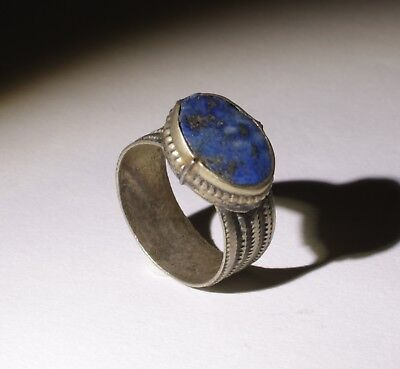 Nice Post Medieval Silver Ring With Lapis Lazuli - No Reserve! 0021