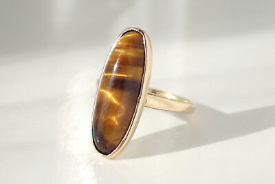 14K Tiger Eye Yellow Gold Oblong Bezel Antique Victorian Era Pinky Ring Size 5