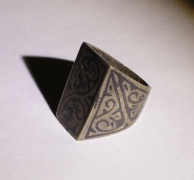 Nice Post Medieval Silver Ring With Niello Inlay  - No Reserve! 01121