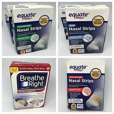 Equate Clear Nasal Strips Lot Of 6 Packs  Compare to Breathe Right Nasal strips