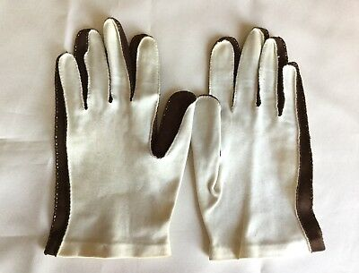 Handmade Vintage Cotton Gloves Brown Cream White