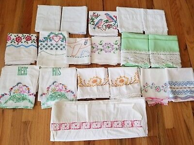 Vintage Embroidered Crochet Pillowcases & Flat Sheet LOT 18 Pieces 5 Pairs