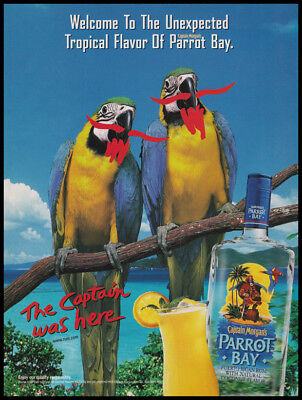 Captain Morgan Parrot Bay print ad 2000 parrots with drawn beards and mustaches