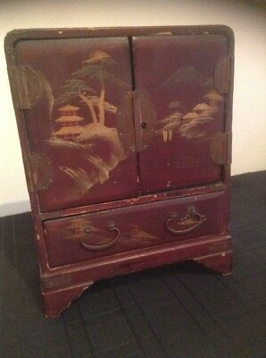 Miniature Japanese Style Lacquer Cabinet Box