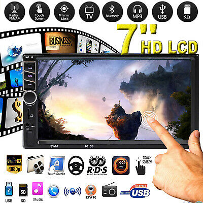 """7"""" Double 2 Din Touch Screen Car MP5 Player Bluetooth Stereo FM Radio USB/TF"""
