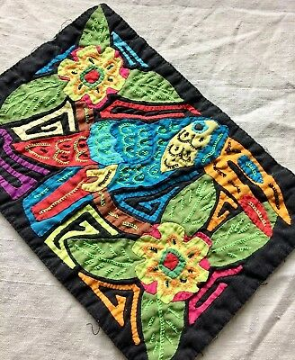 Mola Hand Made Tapestry Panama Animal Design Bird Bright Folk Art EXCELLENT!!