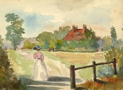 E.L. Colebrooke, Lady on a Garden Walk - Early 20th-century watercolour painting