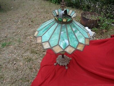 Very Old Antique Stained Glass Table Lamp cast iron base