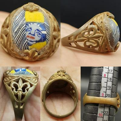 Ancient Unique Mosaic Glass with face Wonderful Ring # 8N