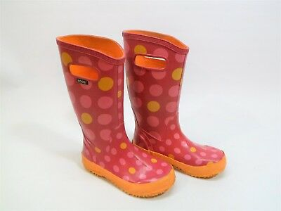 Bogs Kids Girls Sz 2 Pink Polka Dot Classic Handle Waterproof Muck Rain Boots