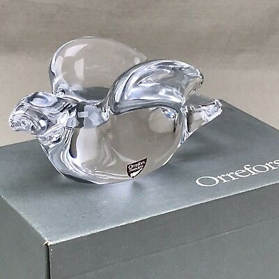 Signed ORREFORS Sweden Crystal Bird in Flight Figurine w Box Olle Alberius
