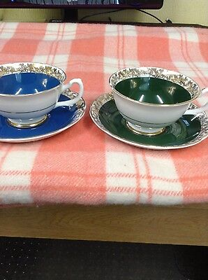 A Classy Pair Of Vintage Bone China Cups & Saucers In Bottle Green& Petrol Blue.