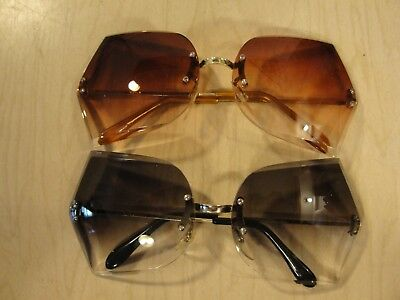 """NOS ~""""2 Pairs""""~ OVERSIZED Vintage RETRO SUNGLASSES Large Rimless Butterfly Frame"""