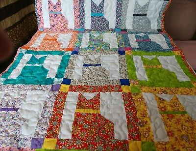 Handmade Boy Girl Pieced Calico Cat Baby Crib Throw Blanket Quilt Personalized