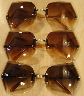 """NOS ~""""3 Pairs""""~ OVERSIZED Vintage RETRO SUNGLASSES Large Rimless Butterfly Frame"""
