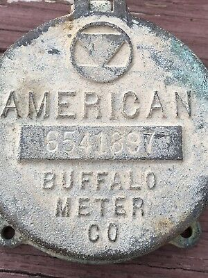 Antique Brass American Buffalo Meter Co. Water Cover vintage metal Steampunk Old