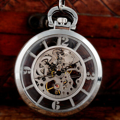 Silver Vintage Skeleton Antique Mechanical Pocket Watch Chain Open Face Men Gift