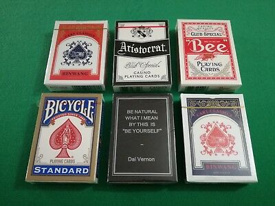 Lotto 6 MAZZI DI CARTE Poker Bicycle Bee Aristocrat Magic Notebook Playing Cards