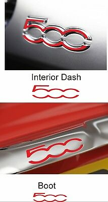 Fiat 500 / 595 Dash & Boot Overlay inlay Decals stickers badges Vinyl Abarth x4!