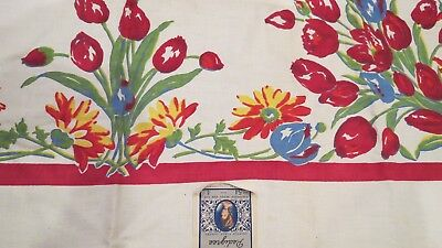 """Vintage Red & Blue Tulips 54"""" Floral Tablecloth Pedigree by Thomaston Mills NOS"""