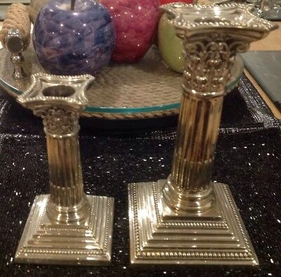 Two Vintage Silver Plated Corithian Style Candlesticks