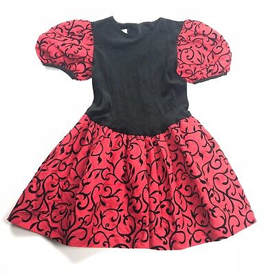 Vtg 80s 90s Amy Too! Girls size 10 Dress Puff Sleeve Red Black Party Velvet