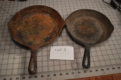 Lot Of Vintage Griswold Cast Iron Skillets 2 Total for restoration rusty crusty