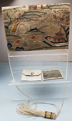 Art Deco silk embroidered Chinese Clutch purse/ bag with mirror &stamp purse
