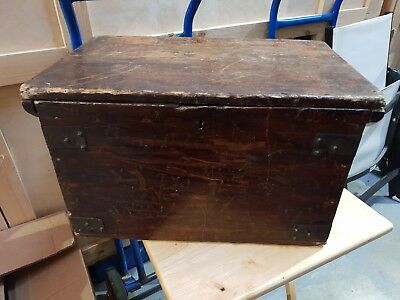 Vintage Wooden Trunk Storage Box With Lift Up Lid