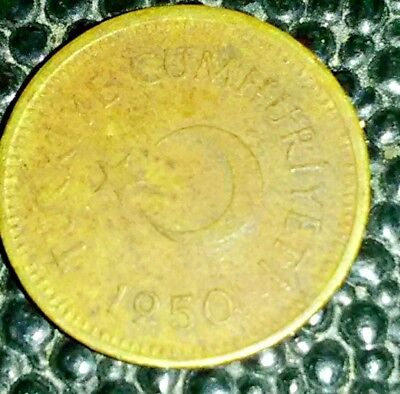 Turkey 1950 - 5 Kurus Brass Coin - Star and crescent