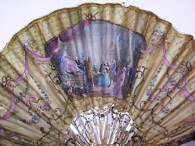 RARE 19thC carved mother-of-pearl balloon fan Marie-Antoinette Duvelleroy