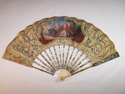 Superb antique 18thC french carved hand painted fan / blind man's buff